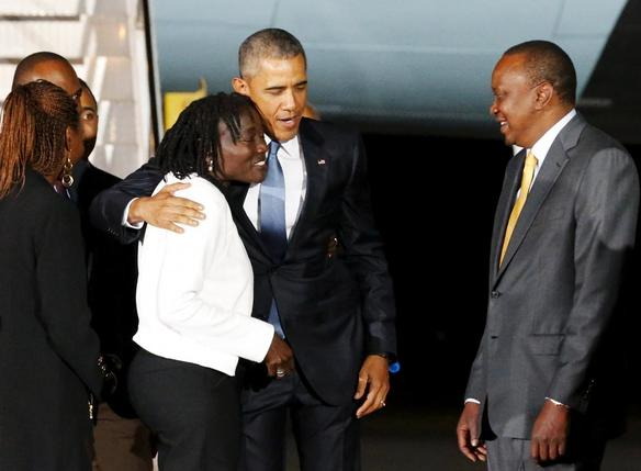 President Obama lands In Kenya; greeted by his sister Auma Obama