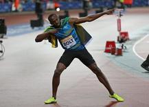 Athletics - IAAF Diamond League 2015 - Sainsbury's Anniversary Games - Queen Elizabeth Olympic Park, London, England - 24/7/15, Jamaica's Usain Bolt celebrates after winning the Mens' 100m /Action Images via Reuters / Matthew Childs
