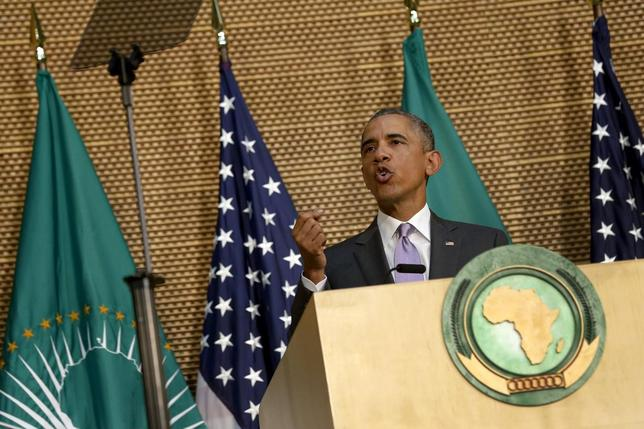 U.S. President Barack Obama delivers remarks at the African Union in Addis Ababa, Ethiopia July 28, 2015. REUTERS/Jonathan Ernst