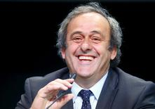 UEFA President Michel Platini addresses a news conference after a UEFA meeting in Zurich, Switzerland, in this May 28, 2015 file photo. REUTERS/Ruben Sprich/Files