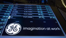 The ticker symbol for General Electric is displayed on a screen on the floor of the New York Stock Exchange July 20, 2015. REUTERS/Brendan McDermid