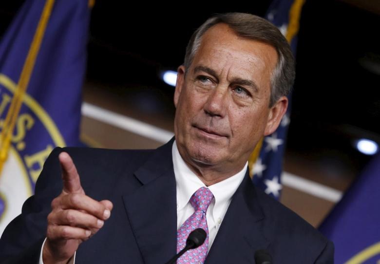 U.S. House Speaker John Boehner (R-OH) gestures during his weekly news conference on Capitol Hill in Washington July 29, 2015. REUTERS/Yuri Gripas