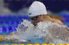 Adam Peaty of Britain swims in the men's 200m breaststroke heats at the European Swimming Championships in Berlin August 20, 2014.                     REUTERS/Michael Dalder
