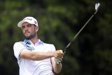 Troy Merritt watches his shot after teeing off on the 16th hole in the third round of the Quicken Loans National golf tournament at Robert Trent Jones Golf Club. Mandatory Credit: Rafael Suanes-USA TODAY Sports