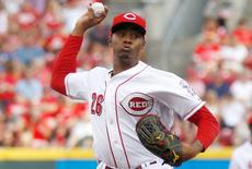 Aug 1, 2015; Cincinnati, OH, USA; Cincinnati Reds starting pitcher Raisel Iglesias throws the ball against the Pittsburgh Pirates in the first inning at Great American Ball Park. Mandatory Credit: David Kohl-USA TODAY Sports