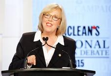 Canada's Green Party leader Elizabeth May speaks during the Maclean's National Leaders debate in Toronto, August 6, 2015. Canadians go to the polls in a national election on October 19, 2015. REUTERS/Mark Blinch