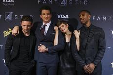 Cast members (L-R) Jamie Bell, Miles Teller, Kate Mara, and Michael B. Jordan pose the premiere of the film Fantastic Four in the Brooklyn borough of New York August 4, 2015. REUTERS/Lucas Jackson