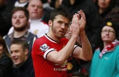 Michael Carrick durante partida contra o Manchester City, na Inglaterra.  12/04/15 Action Images via Reuters / Jason Cairnduff Livepic