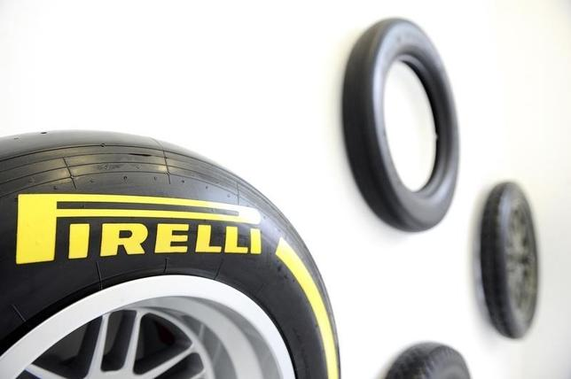 A Pirelli's tyre is pictured at the headquater in Milan, March 26, 2015. REUTERS/Giorgio Perottino