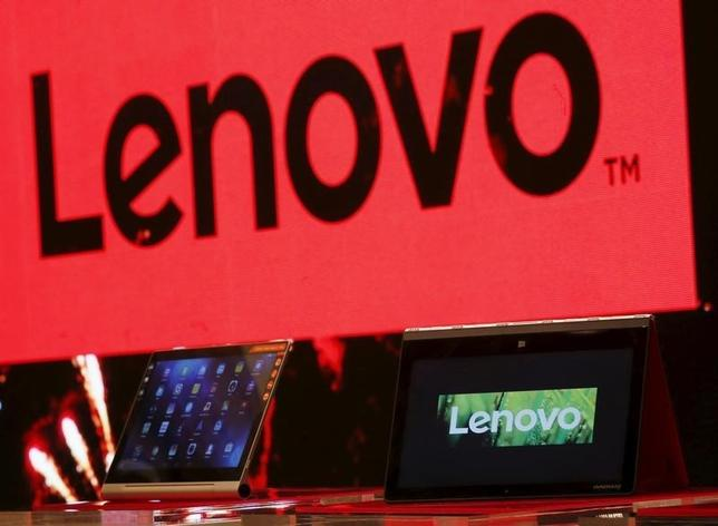 A Lenovo ultrabook and a tablet are displayed during a news conference in Hong Kong, China May 21, 2015.   REUTERS/Bobby Yip