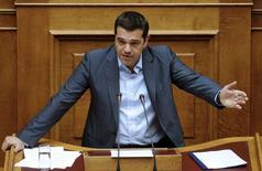 Primeiro-ministro da Grécia, Alexis Tsipras, durante sessão parlamentar, em Atenas.   14/08/2015   REUTERS/Christian Hartmann