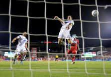 Aug 15, 2015; Dallas, TX, USA; Los Angeles Galaxy forward Robbie Keane (7) scores a goal during the second half against FC Dallas at Toyota Stadium. Mandatory Credit: Kevin Jairaj-USA TODAY Sports