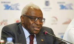 International Association of Athletics Federations (IAAF) President Lamine Diack speaks during a news conference for the Diamond League athletics meet in Doha May 10, 2012. REUTERS/Mohammed Dabbous/Files
