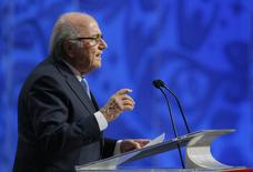 FIFA President Sepp Blatter addresses during the preliminary draw for the 2018 FIFA World Cup at Konstantin Palace in St. Petersburg, Russia July 25, 2015. REUTERS/Maxim Shemetov/Files