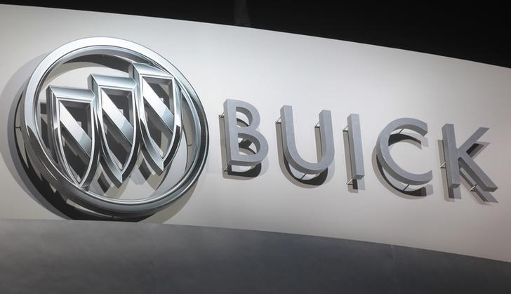 General Motor's Buick logo is seen above the stage during a vehicle reveal ahead of press days of the North American International Auto Show (NAIAS) in Detroit, Michigan, January 11, 2015.   REUTERS/Rebecca Cook
