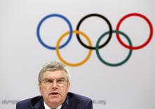 President of the International Olympic Committee (IOC) Thomas Bach speaks at the closing news conference following the IOC executive board meeting in Kuala Lumpur, Malaysia, August 3, 2015. REUTERS/Olivia Harris