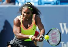 Serena Williams (USA) returns a shot against Karin Knapp (not pictured) on day six during the Western and Southern Open tennis tournament at Linder Family Tennis Center. Mandatory Credit: Aaron Doster-USA TODAY Sports