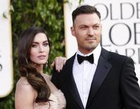 Actor Brian Austin Green and his wife, actress Megan Fox, arrive at the 70th annual Golden Globe Awards in Beverly Hills, California, January 13, 2013.  REUTERS/Mario Anzuoni