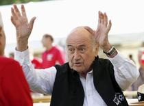 "FIFA President Sepp Blatter gestures before the first game of the so-called ""Sepp Blatter tournament"" in Blatter's home-town Ulrichen, Switzerland, August 22, 2015.  REUTERS/Denis Balibouse"