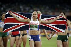 Jessica Ennis-Hill of Britain celebrates winning the women's heptathlon during the 15th IAAF World Championships at the National Stadium in Beijing, China August 23, 2015.   REUTERS/Jason Lee