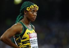 Shelly-Ann Fraser-Pryce of Jamaica before the start of the women's 100 metres semi-final during 15th IAAF World Championships at the National Stadium in Beijing, China August 24, 2015.