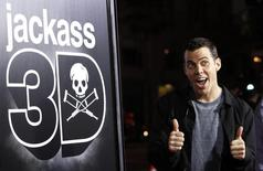 "Cast member Steve-O gestures at the premiere of ""Jackass 3D"" at Grauman's Chinese theatre in Hollywood, California October 13, 2010. The movie opens in the U.S. on October 15.  REUTERS/Mario Anzuoni"