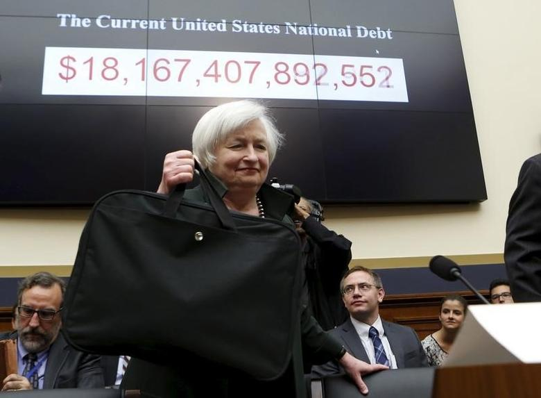 Federal Reserve Board Chairwoman Janet Yellen arrives to testify before a House Financial Services committee hearing on ''Monetary Policy and the State of the Economy'' on Capitol Hill  in Washington July 15, 2015. REUTERS/Yuri Gripas