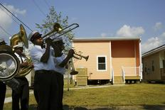The Kinfolk Brass Band performs at a Make It Right Foundation function marking the tenth anniversary of Hurricane Katrina in the Lower 9th Ward in New Orleans, Louisiana August 29, 2015.  REUTERS/Edmund D. Fountain