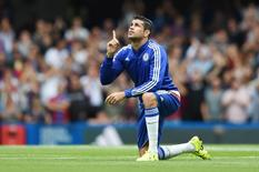 Diego Costa durante partida do Chelsea contra o Crystal Palace, na Inglaterra.   29/08/2015 Action Images / Tony O'Brien