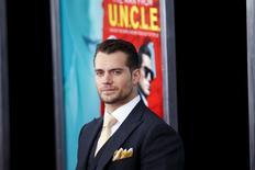 """Ator Henry Cavill participa do lançamento de """"O Agente da U.N.C.L.E."""" em Nova York.  10/8/2015.  REUTERS/Eduardo Munoz"""