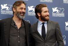 "Cast member Jake Gyllenhaal (R) and director Baltasar Kormakur pose during the photocall for the movie ""Everest"" at the 72nd Venice Film Festival, northern Italy September 2, 2015.  REUTERS/Stefano Rellandini"