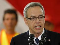 Canada's Finance Minister Joe Oliver speaks to employees at a tile and stone manufacturing company in Toronto August 4, 2015.  REUTERS/Chris Helgren