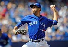 Toronto Blue Jays starting pitcher David Price (14) pitches against Baltimore Orioles during the first inning at Rogers Centre. Peter Llewellyn-USA TODAY Sports