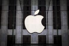 An Apple logo hangs above the entrance to the Apple store on 5th Avenue in the Manhattan borough of New York City, July 21, 2015. REUTERS/Mike Segar/Files