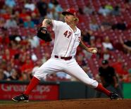 Cincinnati Reds starting pitcher John Lamb throws against the St. Louis Cardinals in the second inning at Great American Ball Park.  David Kohl-USA TODAY Sports