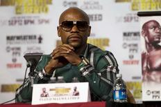 Undefeated WBC/WBA welterweight champion Floyd Mayweather Jr. attends a news conference at MGM Grand Hotel & Casino in Las Vegas September 9, 2015.  REUTERS/Las VegasSun/Steve Marcus