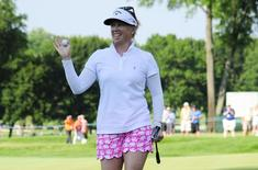 Jul 11, 2015; Lancaster, PA, USA; Morgan Pressel waves after completing the eighteenth hole during the third round of the 2015 U.S. Women's Open at Lancaster Country Club. Mandatory Credit: Shanna Lockwood-USA TODAY Sports