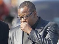 Bobby Brown leaves the funeral service of ex-wife pop singer Whitney Houston at the New Hope Baptist Church in Newark, New Jersey, in this file photo taken February 18, 2012. REUTERS/Carlo Allegri/Files