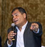El presidente de Ecuador, Rafael Correa, en una conferencia con medios internationales en el Palacio de Carondelet en Quito, 15 de septiembre de 2015. REUTERS/Guillermo Granja