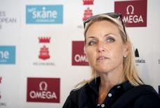 Carin Koch, Swedish Solheim Cup captain, speaks to reporters during the second day of the Helsingborg Open in the Ladies European Tour at Vasatorps Golf Club in Helsingborg, Sweden, September 4, 2015. REUTERS/Bjorn Lindgren/TT News Agency