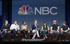 "(L-R) Cast members Jack Coleman, Zachary Levi, Judi Shekoni, executive producer Tim Kring, cast members Kiki Sukezane, Ryan Guzman, and Robbie Kay participate in the NBCUniversal ""Heroes Reborn"" panel at the Television Critics Association (TCA) Summer 2015 Press Tour in Beverly Hills, California August 13, 2015.  REUTERS/Jonathan Alcorn"