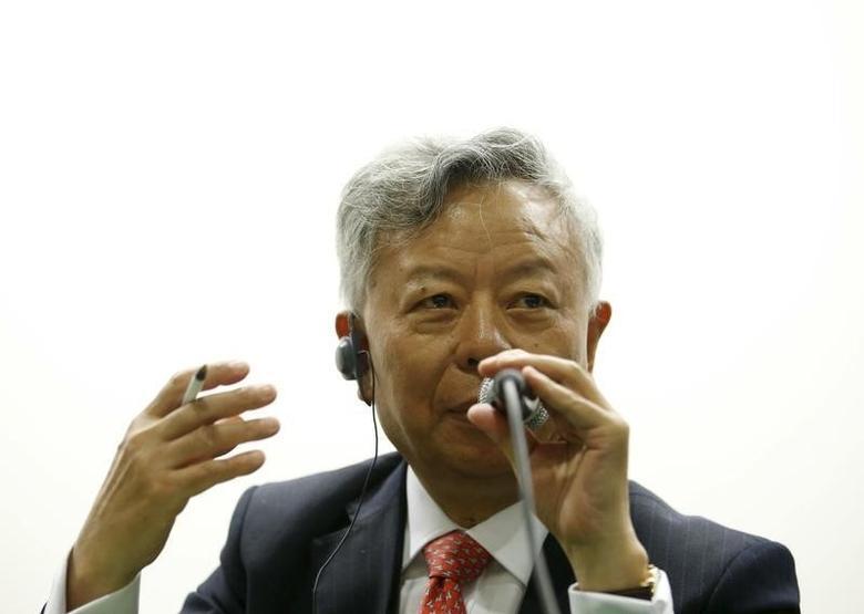 Jin Liqun, President-designate of The Asian Infrastructure Investment Bank, speaks during a business meeting in Seoul, South Korea, September 9, 2015.  REUTERS/Kim Hong-Ji