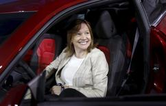 General Motors Co's Chief Executive Officer Mary Barra sits in the driver's seat of the all-new Chevrolet 2016 Camaro SIX during its official debut in Detroit, Michigan, in this file photo taken May 16, 2015.    REUTERS/Rebecca Cook/Files