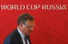 Secretário-geral da Fifa, Jérôme Valcke, durante evento da Copa do Mundo da Rússia, em Samara. 10/06/2015  REUTERS/Maxim Zmeyev