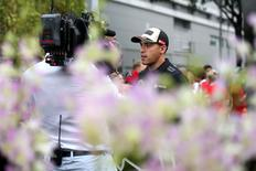 Formula One - F1 - Singapore Grand Prix 2015 - Marina Bay Street Circuit, Singapore - 17/9/15 Lotus' Pastor Maldonado speaks to the media ahead of the Singapore Grand Prix Mandatory Credit: Action Images / Hoch Zwei Livepic