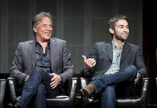"Cast members Don Johnson (L) and Chace Crawford from ""Blood & Oil"" speak at a panel for the ABC television series during the Television Critics Association Cable Summer Press Tour in Beverly Hills, California August 5, 2015. REUTERS/Danny Moloshok"