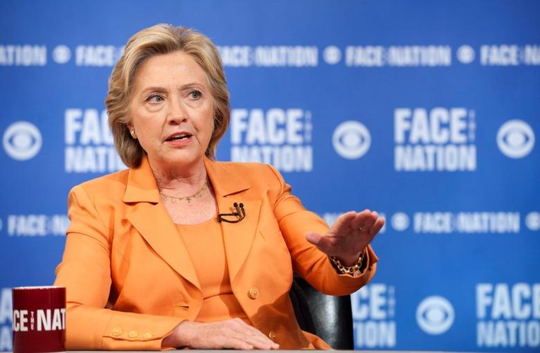 Democratic Presidential Candidate Hillary Clinton speaks on ''Face the Nation'' with John Dickerson, in Washington, D.C., in this picture provided by CBS News, September 20, 2015. REUTERS/CBS News/Chris Usher/Handout via Reuters