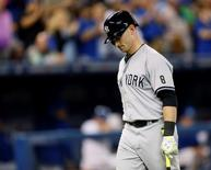 New York Yankees center fielder Slade Heathcott (72) reacts after striking out in the ninth inning against the Toronto Blue Jays at Rogers Centre. Toronto defeated New York 4-0. Sep 23, 2015; Toronto, Ontario, CAN. John E. Sokolowski-USA TODAY Sports
