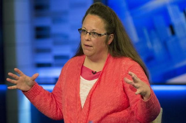 Kentucky county clerk Kim Davis speaks during an interview on Fox News Channel's 'The Kelly File' in New York September 23, 2015. REUTERS/Brendan McDermid