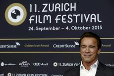 Austrian-born actor Arnold Schwarzenegger poses for the media before the award ceremony for the Golden Icon Award at the Zurich Film Festival in Zurich, Switzerland, September 30, 2015. REUTERS/Arnd Wiegmann